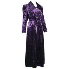 Vintage 1970s Women's Long Purple Crushed Panne Velvet Maxi Coat