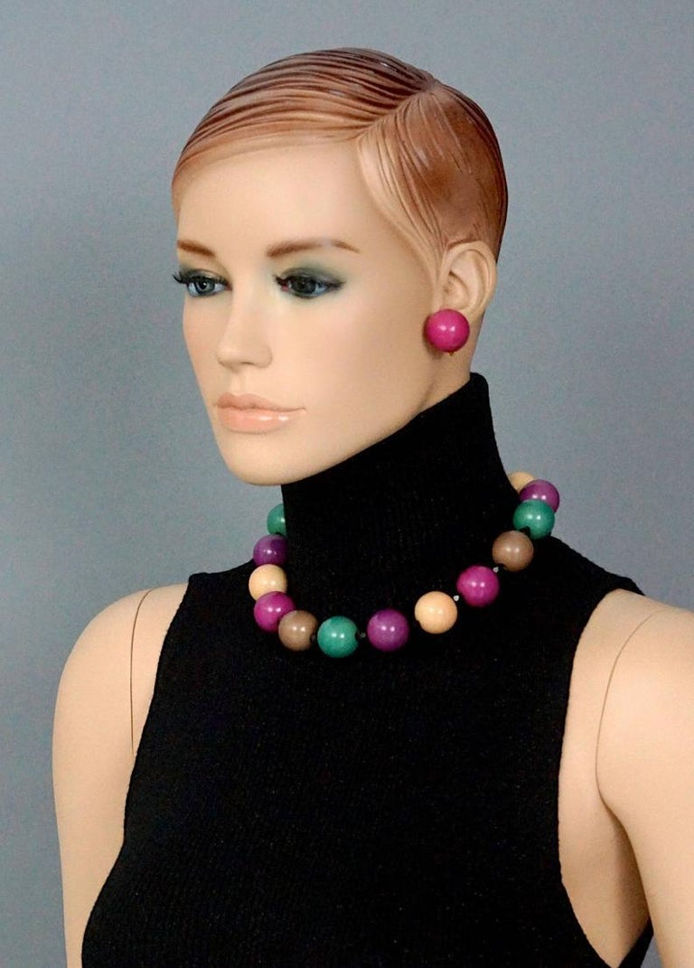 Vintage 1970s YVES SAINT LAURENT by Roger Scemama Colourful Op Art Wood Ball Ear For Sale 1