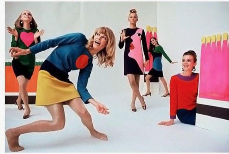Vintage 1970s YVES SAINT LAURENT Heart Pop Art Dress For Sale 6