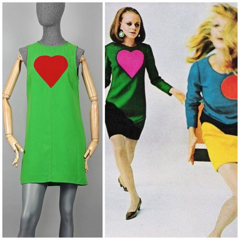 Vintage 1970s YVES SAINT LAURENT Heart Pop Art Dress  Approximate measurements taken laid flat, please double bust, waist and hips: Shoulder: 12.20 inches (31cm) Bust: 17.71 inches (45 cm) Waist: 18.11 inches (46 cm) Hips: 19.68 inches (50
