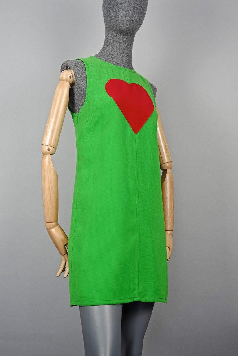 Women's Vintage 1970s YVES SAINT LAURENT Heart Pop Art Dress For Sale