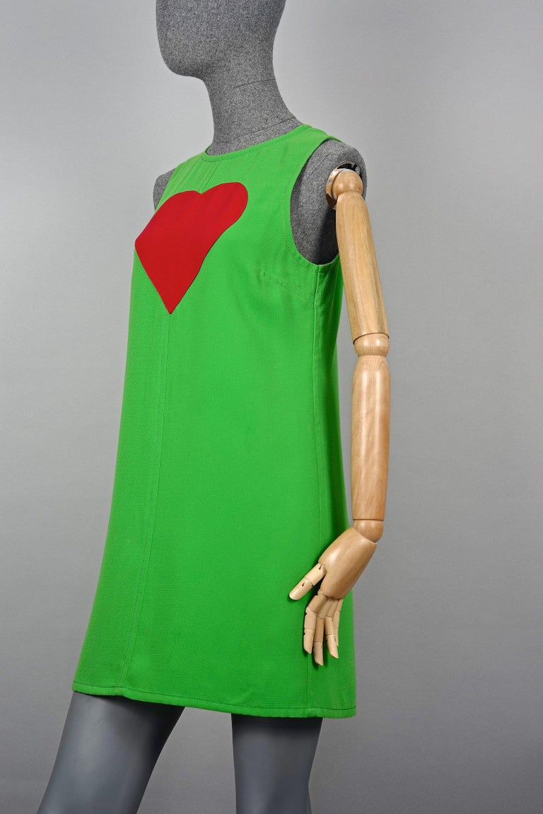Vintage 1970s YVES SAINT LAURENT Heart Pop Art Dress For Sale 1