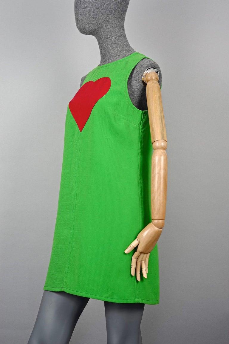 Vintage 1970s YVES SAINT LAURENT Heart Pop Art Dress For Sale 2