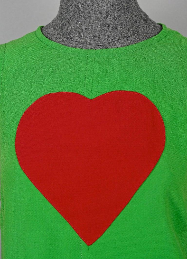 Vintage 1970s YVES SAINT LAURENT Heart Pop Art Dress For Sale 4