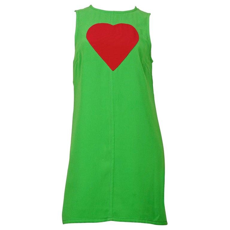 Vintage 1970s YVES SAINT LAURENT Heart Pop Art Dress For Sale