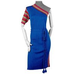 Vintage 1970s YVES SAINT LAURENT Tricot Pop Color One Shoulder Dress