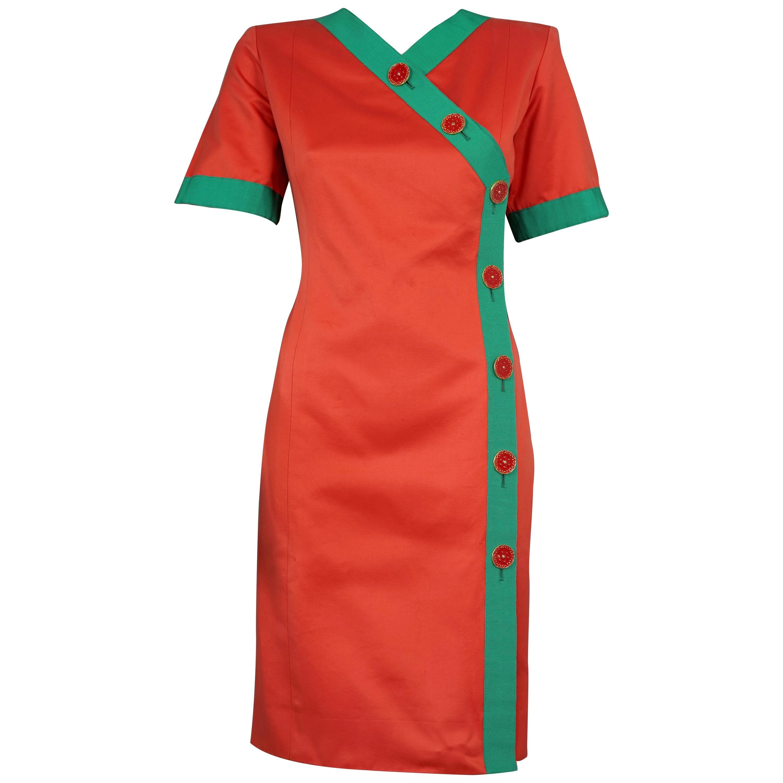 Vintage 1970s YVES SAINT LAURENT Ysl Color Block Dress