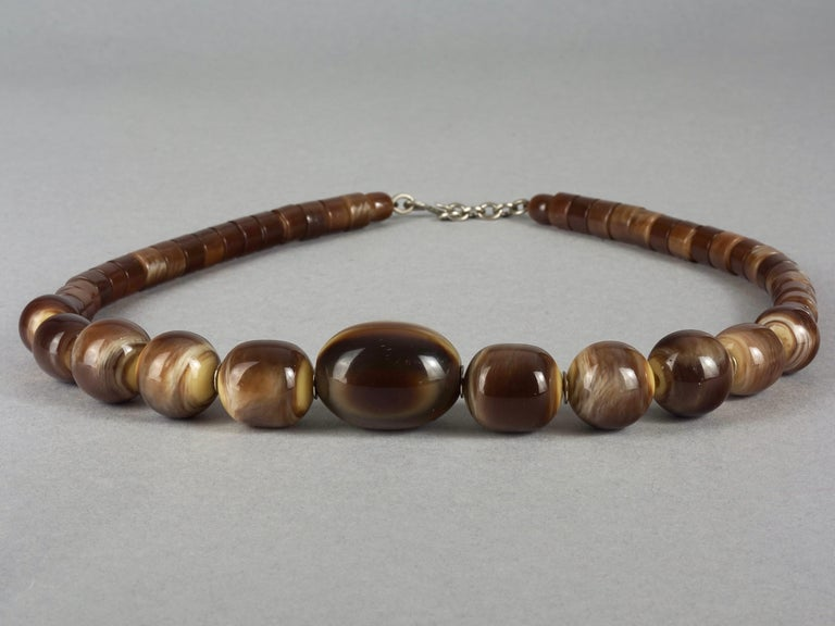 Women's Vintage 1970s YVES SAINT LAURENT Ysl Tigers Eye Necklace by Roger Scemama For Sale