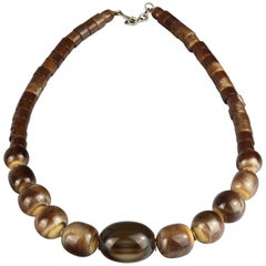 Vintage 1970s YVES SAINT LAURENT Ysl Tigers Eye Necklace by Roger Scemama