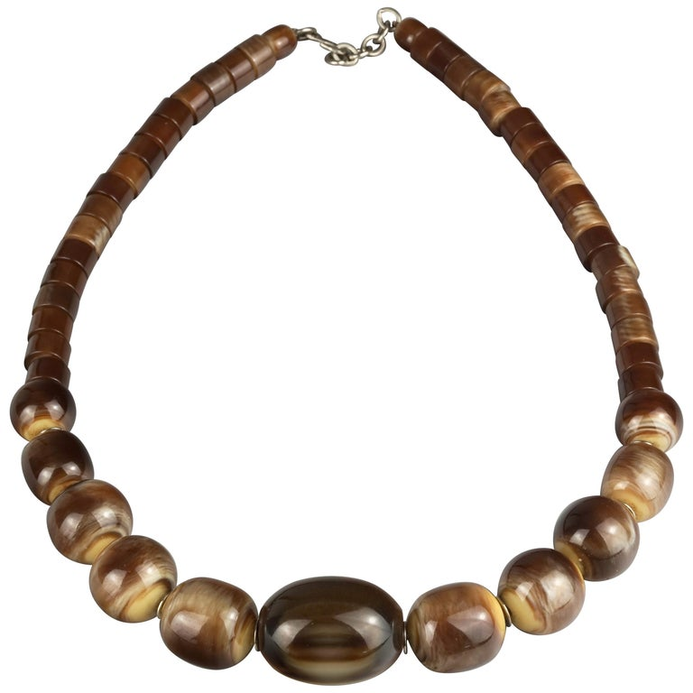 Vintage 1970s YVES SAINT LAURENT Ysl Tigers Eye Necklace by Roger Scemama For Sale