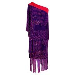 Vintage 1970's Zandra Rhodes Purple Silk Hand Painted Beaded One-Shoulder Dress