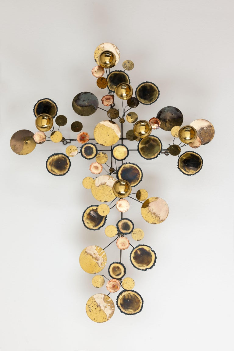Original Vintage C. Jere 'Raindrops' wall sculpture by Artisan House from 1971 (see image #6) by Curtis Freiler & Jerry Fels. Edited rough and polished brass and steel. Beautiful and iconic decorative object with unique patine.   Object comes in