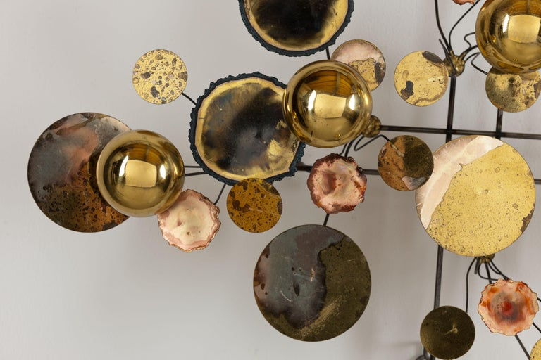 Mid-Century Modern Vintage 1971 Brass 'Curtis Jere' Raindrops Wall Sculpture For Sale