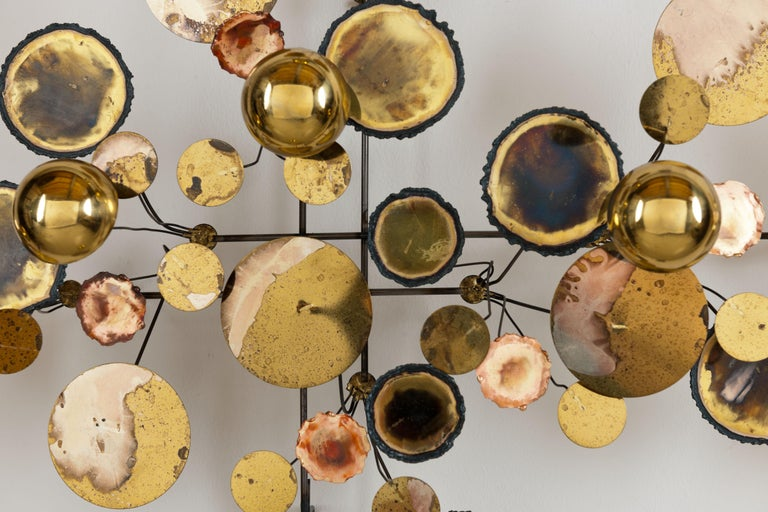 Vintage 1971 Brass 'Curtis Jere' Raindrops Wall Sculpture In Excellent Condition For Sale In Utrecht, NL