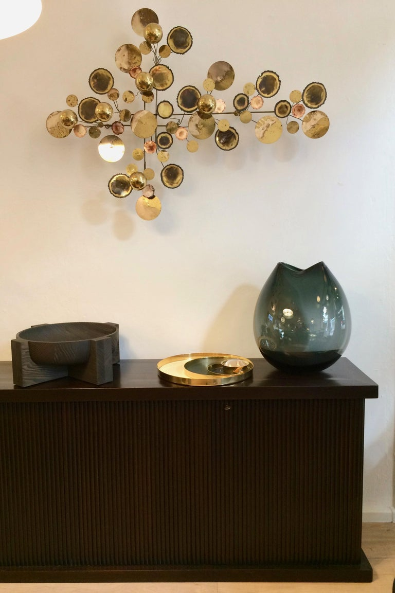 Vintage 1971 Brass 'Curtis Jere' Raindrops Wall Sculpture For Sale 1