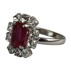 Vintage 1971 CHRISTIAN DIOR Red Rhinestone Ring