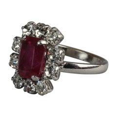 Vintage 1971 CHRISTIAN DIOR Red Rhinestone Ring