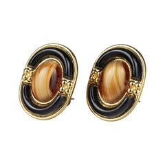Vintage 1971 CHRISTIAN DIOR Tiger Eye Oval Glass Cabochon Earrings
