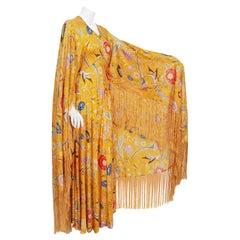 Vintage 1971 Missoni Couture Floral Bird Print Silk-Jersey Fringe Caftan Gown