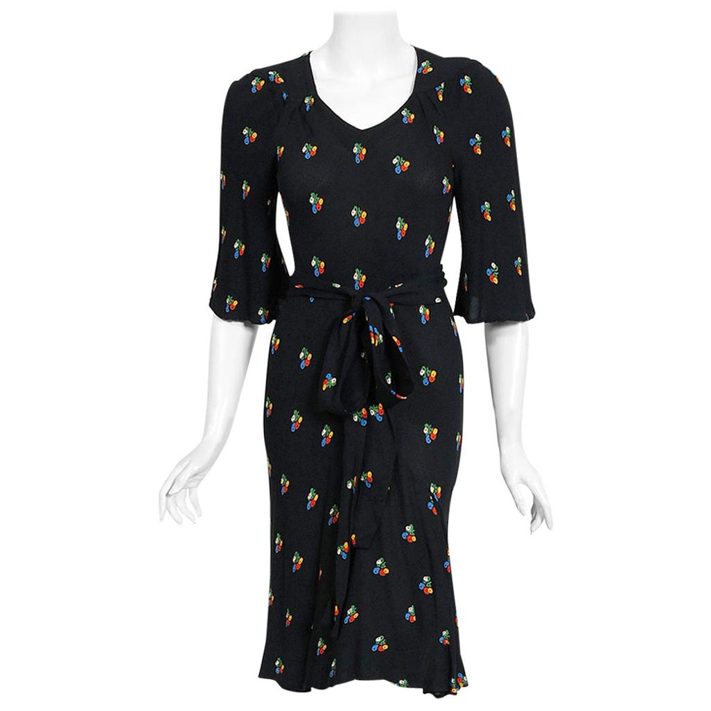 Vintage 1971 Ossie Clark Black Floral Celia Birtwell Print Silk Bias-Cut Dress