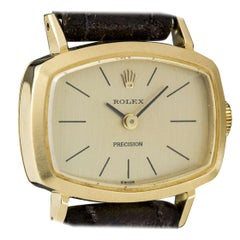 Vintage 1971 Rolex Yellow Gold Champagne Dial Precision Manual Wind Wristwatch