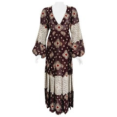 Vintage 1971 Thea Porter Brocaded Cotton & Lace Low Cut Billow-Sleeve Maxi Dress