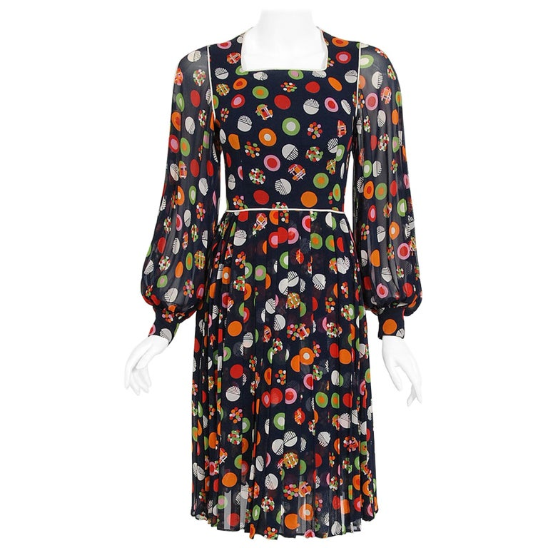 Vintage 1972 Christian Dior Couture Deco Print Silk Billow Sleeve Pleated Dress For Sale
