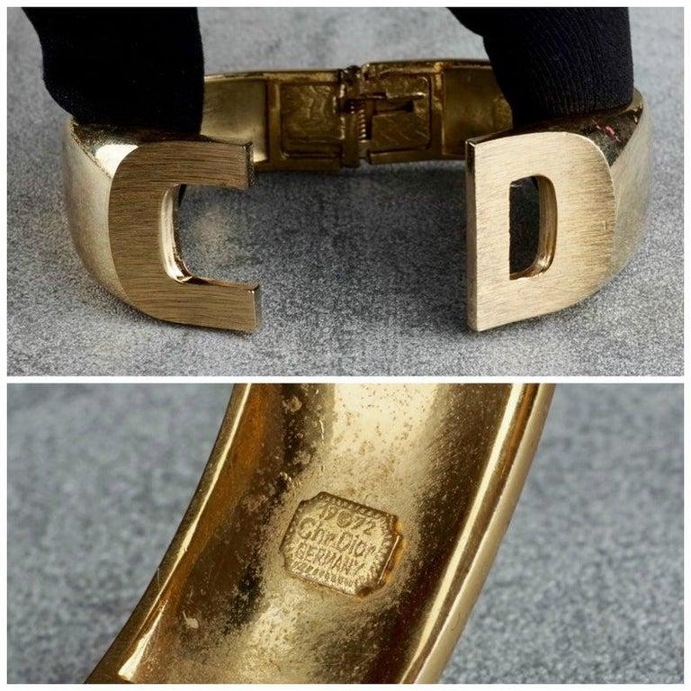 Vintage 1972 CHRISTIAN DIOR Logo CD Clamper Bracelet Cuff For Sale 7