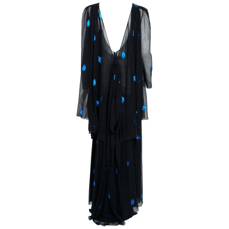 Vintage 1972 Christian Dior Metallic Black & Blue Silk Backless Draped Gown For Sale