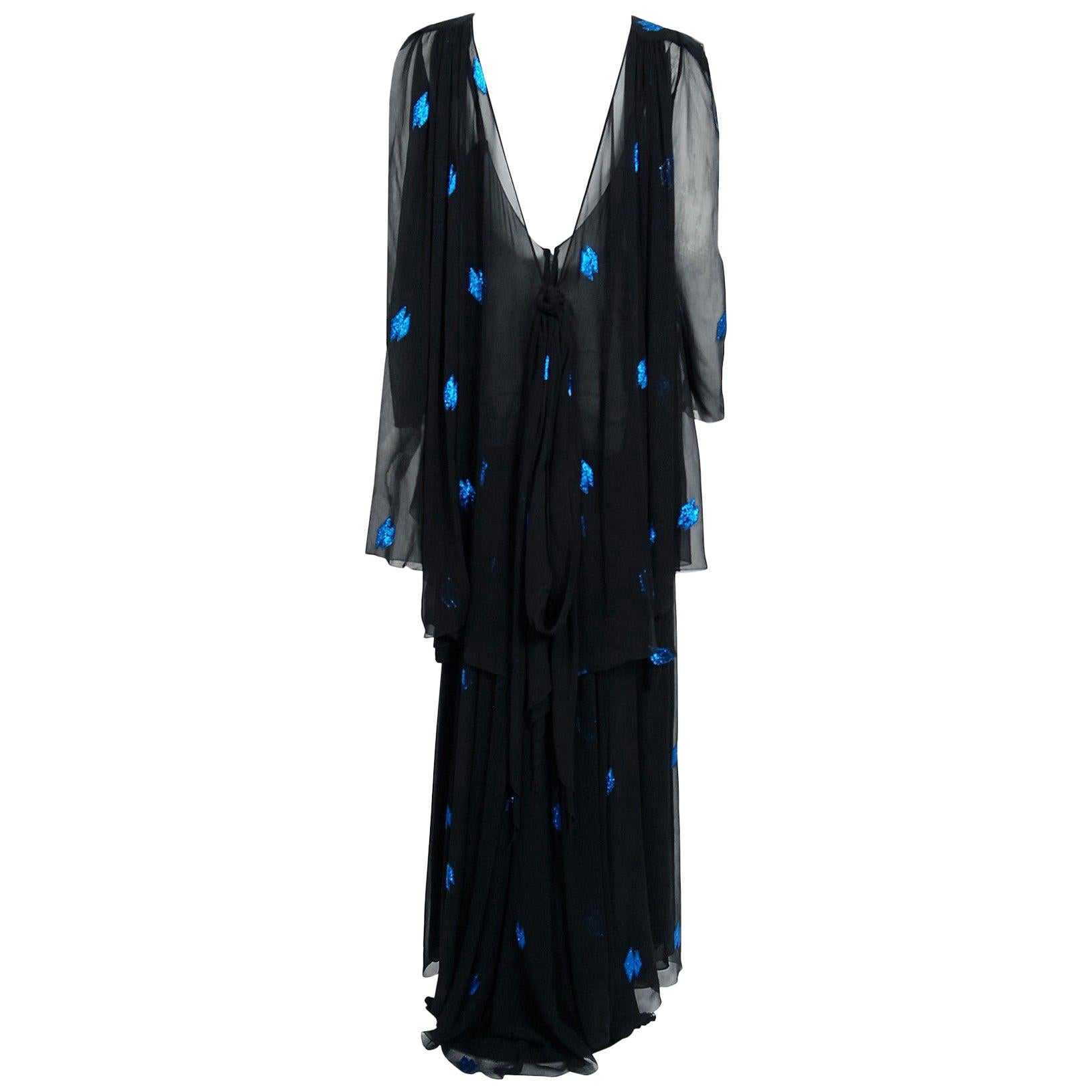 Vintage 1972 Christian Dior Metallic Black & Blue Silk Backless Draped Gown