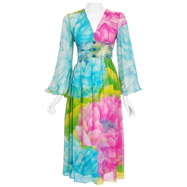 Vintage 1972 Hanae Mori Couture Beaded Floral Print Chiffon Angel-Sleeve Dress For Sale
