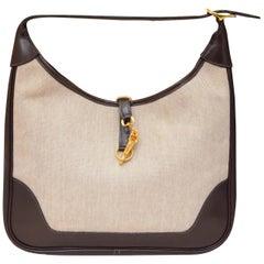 Vintage 1972 Hermes Canvas Trim Bag with Extended Shoulder Strap