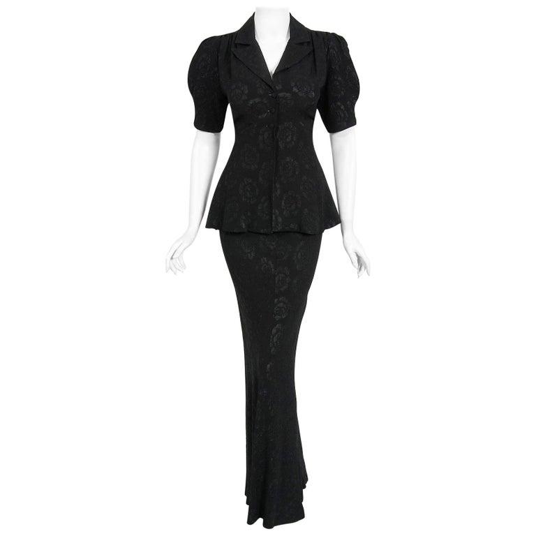 Vintage 1972 Ossie Clark Roses Print Crepe Puff-Sleeve Blouse & Bias-Cut Skirt For Sale