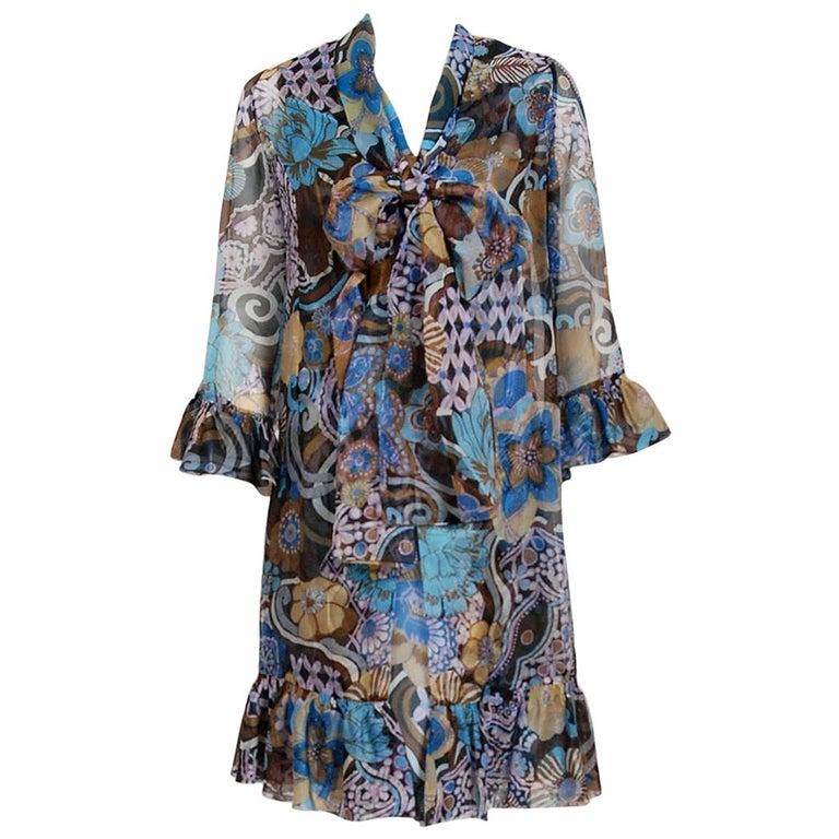 Vintage 1972 Pierre Balmain Haute-Couture Floral Silk Scarf-Neck Dress & Jacket For Sale