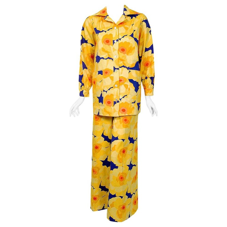 Vintage 1972 Yves Saint Laurent Haute Couture Documented Bold Floral Pantsuit  For Sale