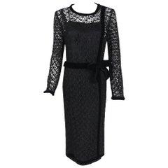 Vintage 1973 Chanel Haute Couture Black Guipure Lace & Velvet Long-Sleeve Dress