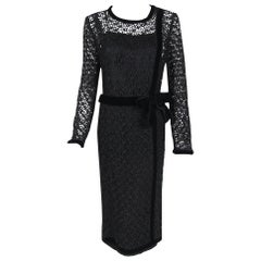 Vintage 1973 Chanel Haute Couture Black Guipure Lace & Velvet Long-Sleeve Dress