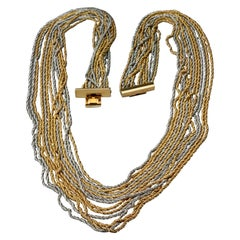 Vintage 1973 CHRISTIAN DIOR 13 Strands Two Tone Chain Necklace