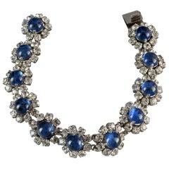 Vintage 1973 CHRISTIAN DIOR Blue Glass Cabochon Rhinestone Bracelet