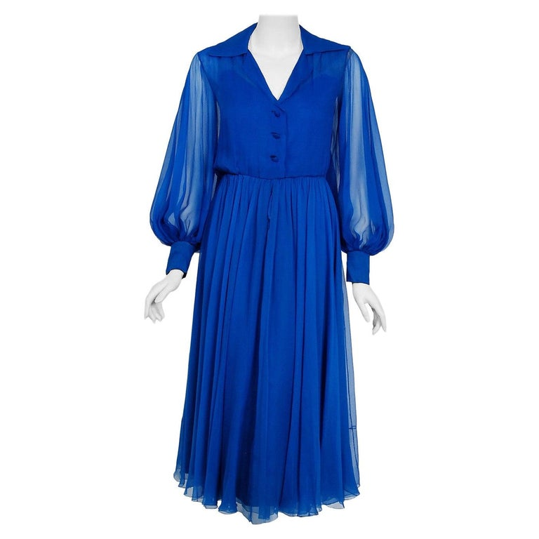 Vintage 1973 Christian Dior Couture Sapphire Blue Chiffon Billow-Sleeve Dress For Sale