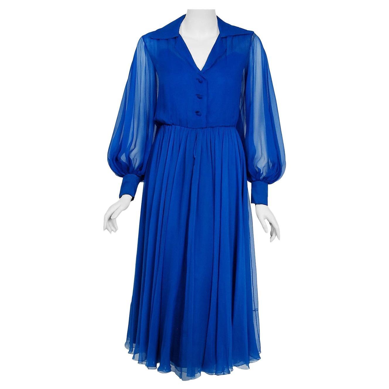 Vintage 1973 Christian Dior Couture Sapphire Blue Chiffon Billow-Sleeve Dress