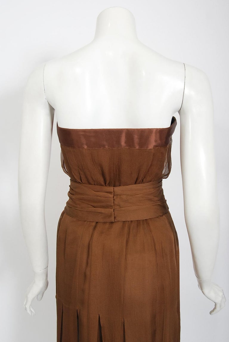 Vintage 1973 Christian Dior Haute Couture Brown Strapless Blouse & Palazzo Pants For Sale 6