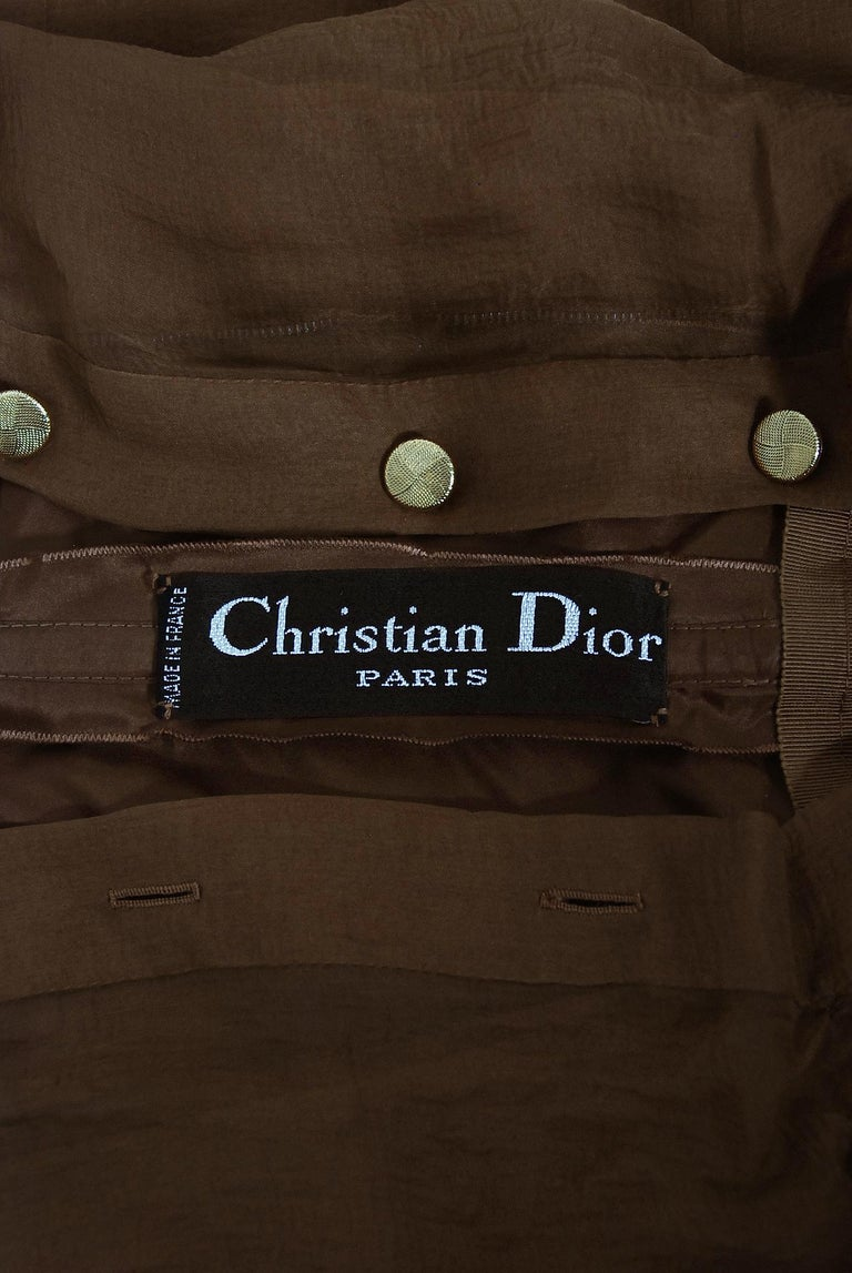 Vintage 1973 Christian Dior Haute Couture Brown Strapless Blouse & Palazzo Pants For Sale 7