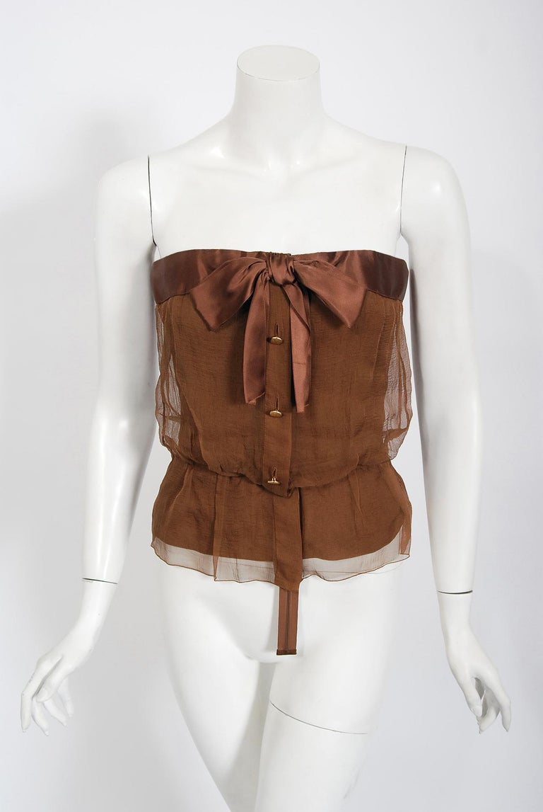 Vintage 1973 Christian Dior Haute Couture Brown Strapless Blouse & Palazzo Pants In Good Condition For Sale In Beverly Hills, CA