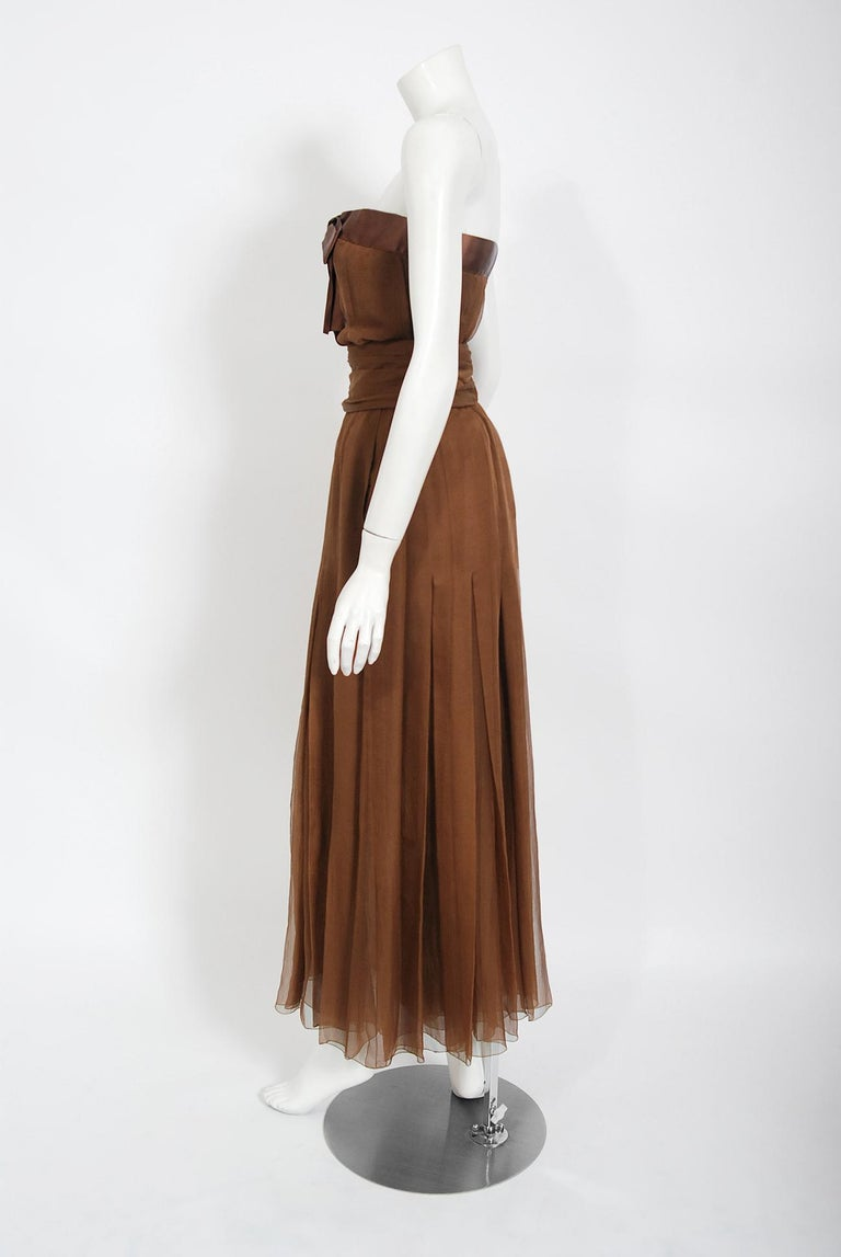 Vintage 1973 Christian Dior Haute Couture Brown Strapless Blouse & Palazzo Pants For Sale 2