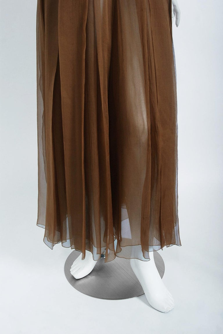 Vintage 1973 Christian Dior Haute Couture Brown Strapless Blouse & Palazzo Pants For Sale 3