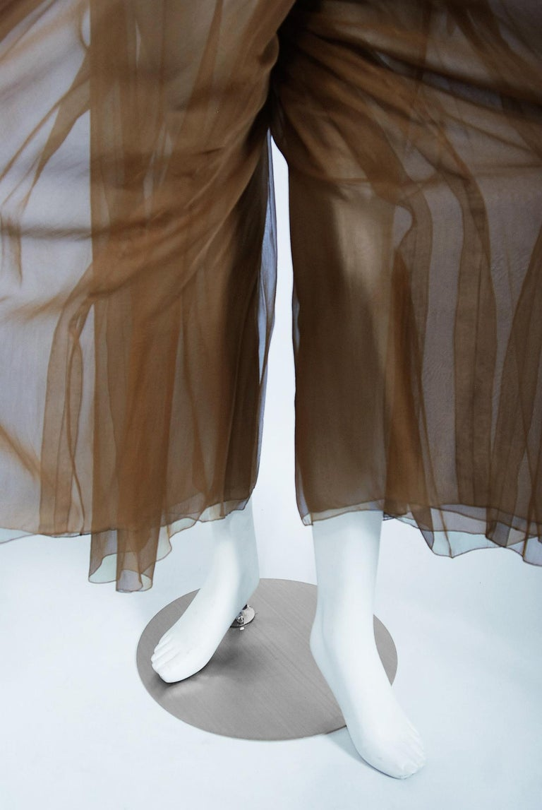 Vintage 1973 Christian Dior Haute Couture Brown Strapless Blouse & Palazzo Pants For Sale 4