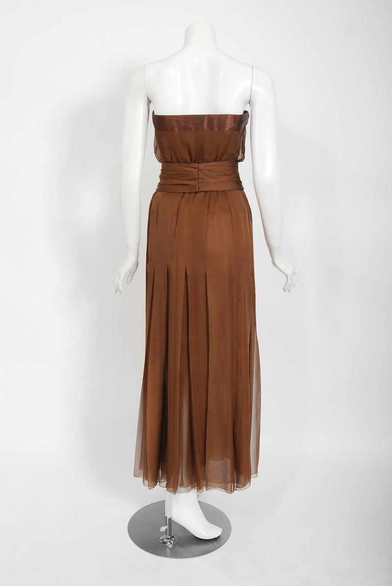 Vintage 1973 Christian Dior Haute Couture Brown Strapless Blouse & Palazzo Pants For Sale 5