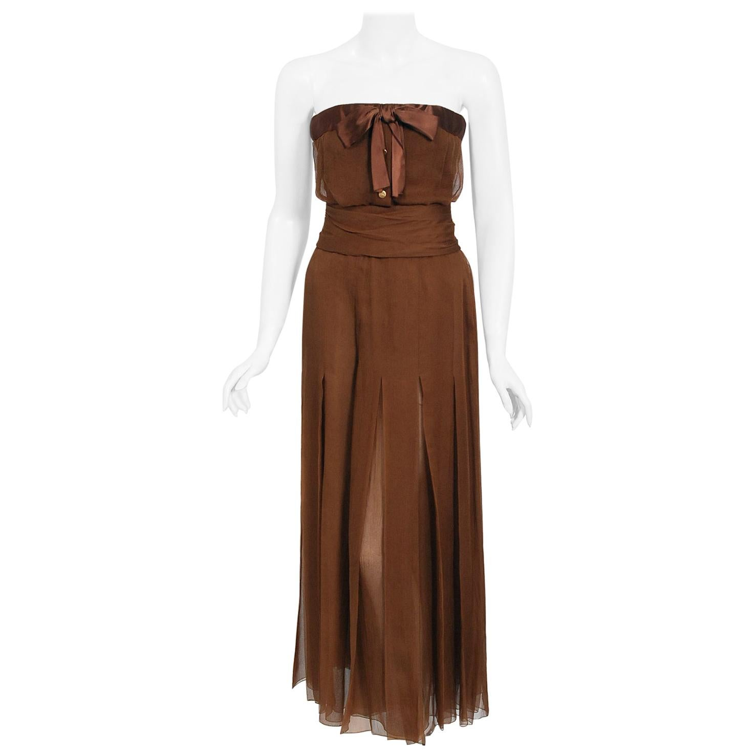 Vintage 1973 Christian Dior Haute Couture Brown Strapless Blouse & Palazzo Pants