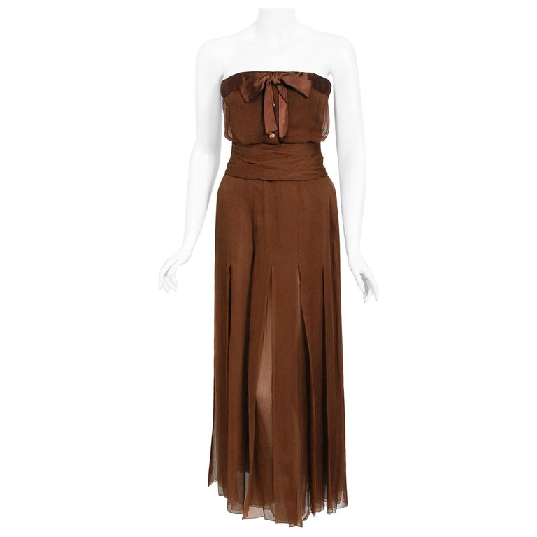Vintage 1973 Christian Dior Haute Couture Brown Strapless Blouse & Palazzo Pants For Sale